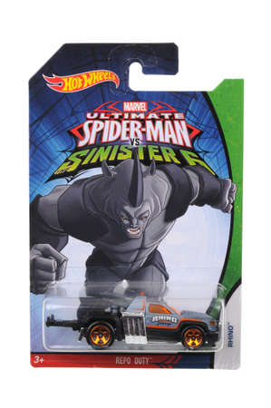 ultimate: Adelaide, Australia - July 27, 2016:An isolated shot of an unopened Ultimate Spiderman Rhino Hot Wheels Diecast Toy Car from the popular Marvel Character Spiderman. Merchandise from the Marvel universe are highy sought after collectables.