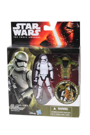 stormtrooper: Adelaide, Australia - June 22, 2016:An isolated shot of an unopened 2015 First Order Stormtrooper Armor Up action figure from the Star Wars The Force Awakens movie.Merchandise from the Star Wars movies are highy sought after collectables.