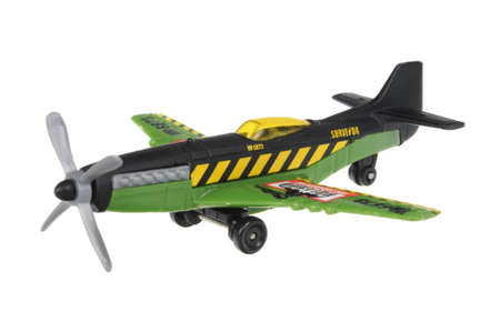 stunt: Adelaide, Australia - July 17, 2016:An isolated shot of a 2007 Stunt Plane Matchbox Diecast Toy Vehicle. Replica diecast toy cars made by Matchbox are highly sought after collectables.