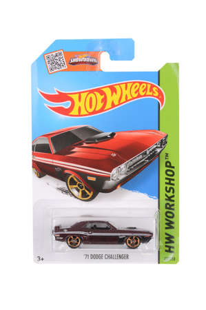 dodge: Adelaide, Australia - June 22, 2016:An isolated shot of an unopened 1971 Dodge Challenger Hot Wheels Diecast Toy Car. Replica Vehicles made by Hot Wheels are highy sought after collectables.
