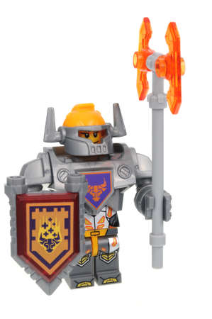 Adelaide, Australia - July 8, 2016: An Axl Nexo Knights Lego Minifigure isolated on a white background. Lego is very popular with children and collectors worldwide. Editorial