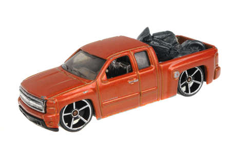 chevy: Adelaide, Australia - July 05, 2016:An isolated shot of a 2007 Chevy Silverado Hot Wheels Diecast Toy Car. Hot Wheels cars made by Mattel are highly sought after collectables. Editorial