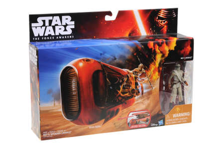 speeder: Adelaide, Australia - July 27, 2016:An isolated shot of an unopened Reys Speeder Toy Vehicle from the Star Wars The Force Awakens movie.Merchandise from the Star Wars movies are highy sought after collectables.