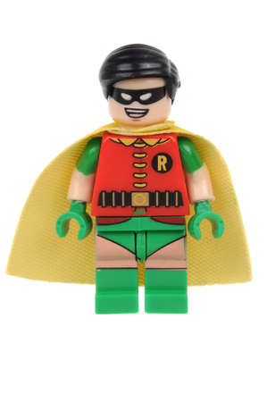 Adelaide, Australia - June 07, 2016: A studio shot of a Robin Lego minifigure from the DC comics and movies. Lego is extremely popular worldwide with children and collectors. Editorial