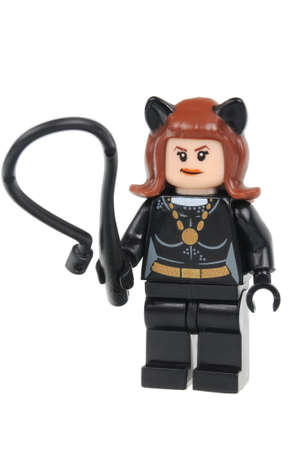 Adelaide, Australia - June 07, 2016: A studio shot of a Catwoman Lego minifigure from the DC comics and movies. Lego is extremely popular worldwide with children and collectors. Editorial