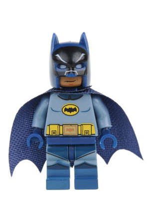 Adelaide, Australia - June 07, 2016: A studio shot of a Batman Lego minifigure from the DC comics and movies. Lego is extremely popular worldwide with children and collectors.