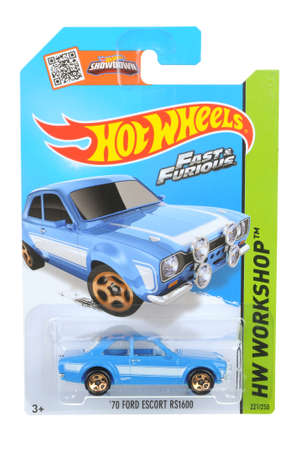 adelaide: Adelaide, Australia - September 23, 2016:An isolated shot of an unopened Fast & Furious 1970 Ford Escort RS1600 Hot Wheels Diecast Toy Car. Hot Wheels Cars as highly sought after collectables.