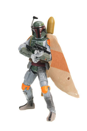 Adelaide, Australia - January 08, 2017:An isolated shot of a Boba Fett action figure from the Star Wars universe.Merchandise from the Star Wars movies are highy sought after collectables.