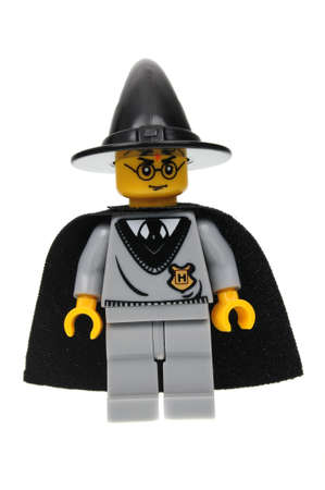 Adelaide, Australia - August 16, 2016: A studio shot of a Harry Potter Lego minifigure from the popular JK Rowling books and movies. Lego is extremely popular worldwide with children and collectors.