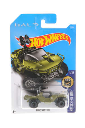 adelaide: Adelaide, Australia - November 05, 2016:An isolated shot of an unopened Halo UNSC Warthog Hot Wheels Diecast Toy Car. Replica Vehicles made by Hot Wheels are highy sought after collectables.