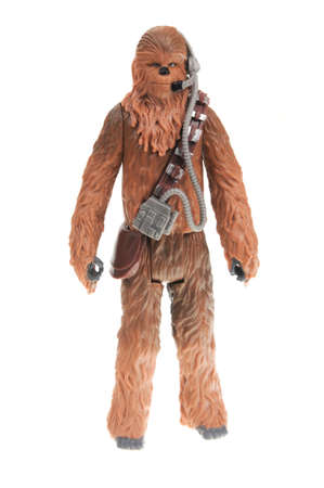 Adelaide, Australia - November 19, 2016:An isolated shot of a Chewbacca action figure from the Star Wars universe.Merchandise from the Star Wars movies are highy sought after collectables.