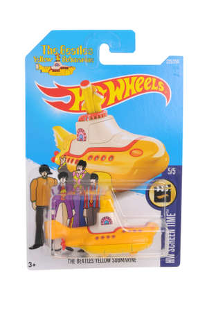 replica: Adelaide, Australia - November 05, 2016:An isolated shot of an unopened Beatles Yellow Submarine Hot Wheels Diecast Toy Car. Replica Vehicles made by Hot Wheels are highy sought after collectables.