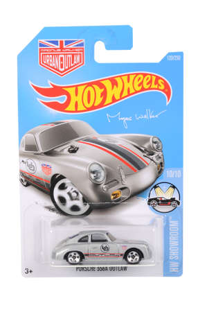 adelaide: Adelaide, Australia - June 21, 2016:An isolated shot of an unopened Magnus Walker Porsche 356A Outlaw Hot Wheels Diecast Toy Car. Replica Vehicles made by Hot Wheels are highy sought after collectables.
