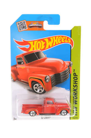 Adelaide, Australia - November 05, 2016:An isolated shot of an unopened 1952 Red Chevy Hot Wheels Diecast Toy Car. Replica Vehicles made by Hot Wheels are highy sought after collectables. Editorial