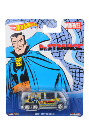 Adelaide, Australia - June 11, 2016:An isolated shot of an unopened Marvel Doctor Strange GMC Motorhome Hot Wheels Diecast Toy Car. Replica Vehicles made by Hot Wheels are highy sought after collectables. Editorial