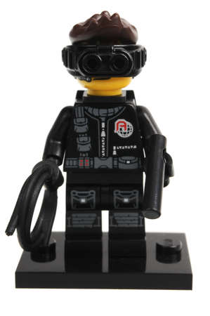 adelaide: Adelaide, Australia - December 06, 2016:An isolated shot of a Spy Lego Minifigure from Series 16 of the collectable lego minifigure toys. Lego is very popular with children and collectors worldwide. Editorial