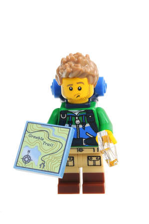 Adelaide, Australia - December 06, 2016:An isolated shot of a Hiker Lego Minifigure from Series 16 of the collectable lego minifigure toys. Lego is very popular with children and collectors worldwide. Editorial