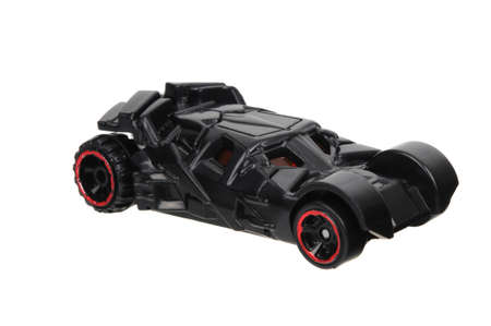 Adelaide, Australia - June 11, 2016:An isolated shot of a  The Dark Knight Batmobile Hot Wheels Diecast Toy Car from the popular Dark Knight movie series. Merchandise from the Batman universe are highy sought after collectables. Editöryel