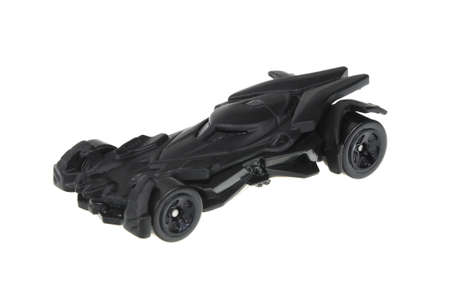 Adelaide, Australia - June 05, 2016:An isolated shot of a Batman V Superman Batmobile Hot Wheels Diecast Toy Car. Hot Wheels cars made by Mattel are highly sought after collectables.