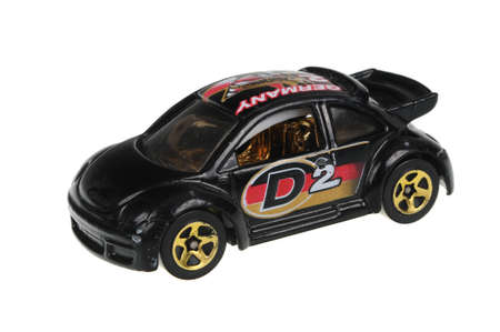adelaide: Adelaide, Australia - June 22, 2016:An isolated shot of a 2001 Volkswagen New Beetle Cup Hot Wheels Diecast Toy Car. Hot Wheels cars made by Mattel are highly sought after collectables.