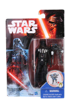 adelaide: Adelaide, Australia - June 05, 2016:An isolated shot of an unopened 2015 Darth Vader action figure from the Star Wars The Force Awakens movie.Merchandise from the Star Wars movies are highy sought after collectables.