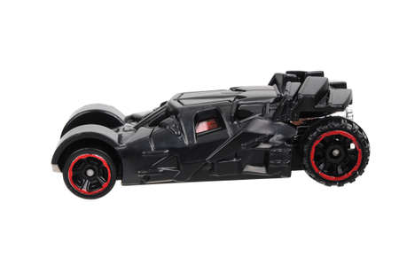 vaso de precipitado: Adelaide, Australia - June 11, 2016:An isolated shot of a  The Dark Knight Batmobile Hot Wheels Diecast Toy Car from the popular Dark Knight movie series. Merchandise from the Batman universe are highy sought after collectables. Editorial