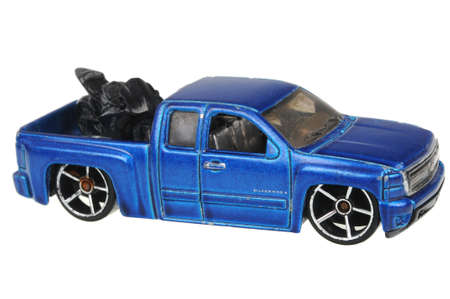 Adelaide, Australia - July 05, 2016:An isolated shot of a Chevy Silverado Hot Wheels Diecast Toy Car. Hot Wheels cars made by Mattel are highly sought after collectables. Editorial