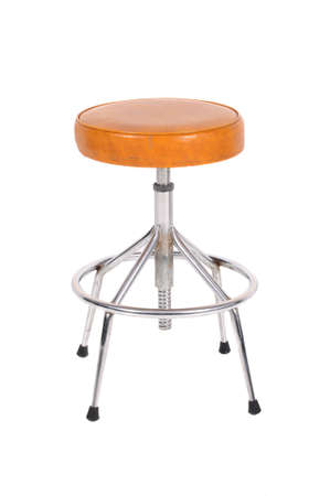 A Vinyl and Chrome stool isolated on a white background.