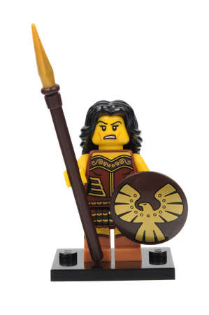 Adelaide, Australia - June 18, 2016:An isolated shot of a Warrior Woman Lego Minifigure from Series 10 of the collectable lego minifigure toys. Lego is very popular with children and collectors worldwide.