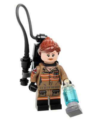 Adelaide, Australia - September 05 2016:A studio shot of a Erin Gilbert Lego minifigure from the Ghostbusters Lego set 75828 based on the 2016 movie. Lego is extremely popular worldwide with children and collectors. Editorial