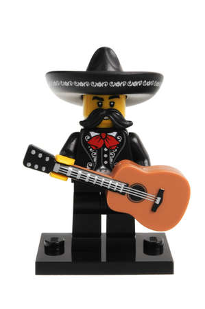 Adelaide, Australia - December 06, 2016:An isolated shot of a Mariachi Lego Minifigure from Series 16 of the collectable lego minifigure toys. Lego is very popular with children and collectors worldwide.