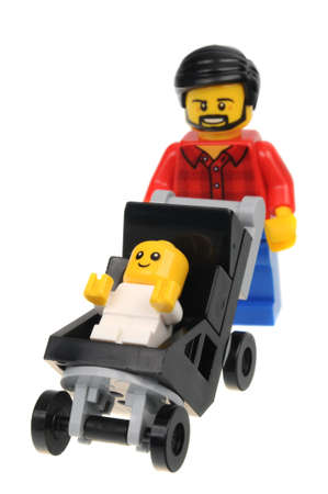 Adelaide, Australia - September 05 2016:A studio shot of a Dad in Flannel Shirt Lego City minifigure from the popular Lego Series. Lego is extremely popular worldwide with children and collectors. Editorial