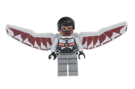 Adelaide, Australia - June 22 2016:A studio shot of a Falcon Lego minifigure from the Marvel Comics Universe. Lego is extremely popular worldwide with children and collectors.