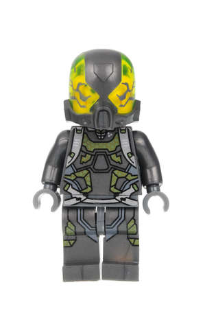 Adelaide, Australia - June 22 2016:A studio shot of an Yellowjacket Custom Lego minifigure from the Marvel Comics. Lego is extremely popular worldwide with children and collectors.