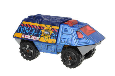 Adelaide, Australia - June 22, 2016:An isolated shot of a 2000 Armored Response Vehicle Matchbox Diecast Toy Car. Replica diecast toy cars made by Matchbox are highly sought after collectables.