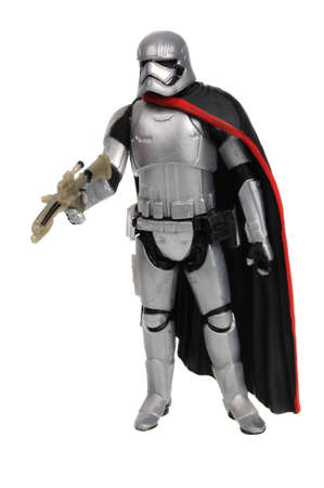 Adelaide, Australia - November 19, 2016:An isolated shot of a 2015 Captain Phasma action figure from the Star Wars The Force Awakens movie.Merchandise from the Star Wars movies are highy sought after collectables.