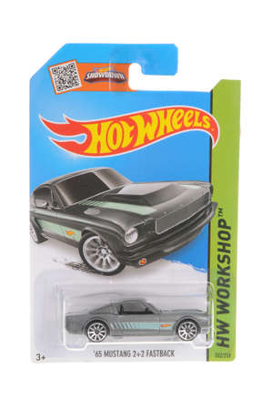 Adelaide, Australia - November 05, 2016:An isolated shot of an unopened 1965 Mustang Fastback Hot Wheels Diecast Toy Car. Hot Wheels Cars as highly sought after collectables.