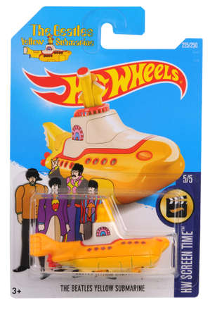 Adelaide, Australia - December 05, 2016:An isolated shot of an unopened Beatles Yellow Submarine Hot Wheels Diecast Toy Car. Hot Wheels Cars are highly sought after collectables.