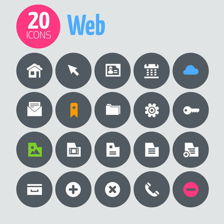 Flat minimalistic web icons on dark gray circles