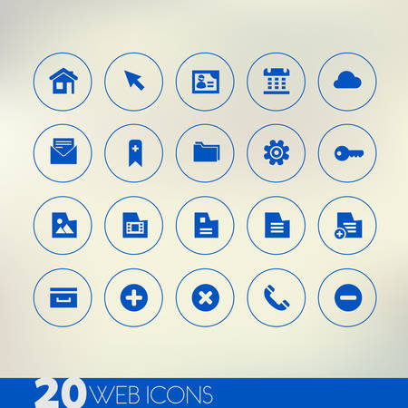 Thin simple web blue icons on light background