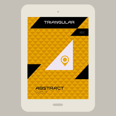 Abstract ui template with Tablet PC on triangular background