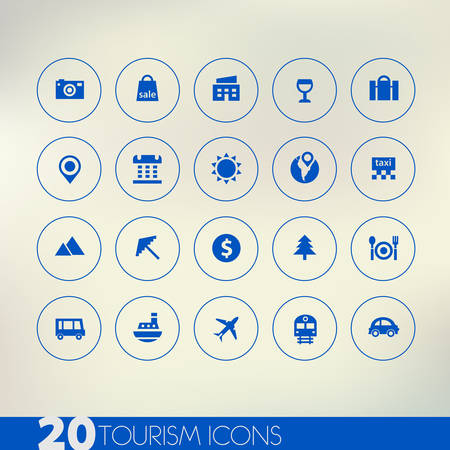 Thin simple tourism blue icons on light background