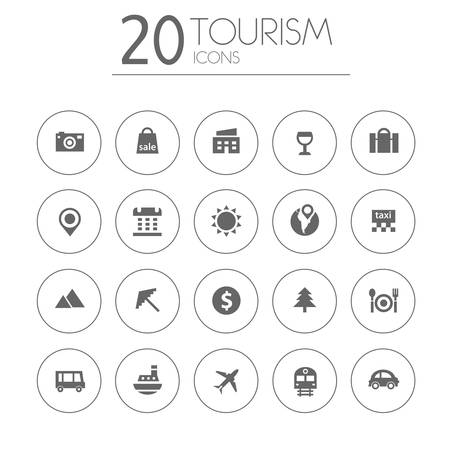 Simple thin tourism icons collection on white background Vector