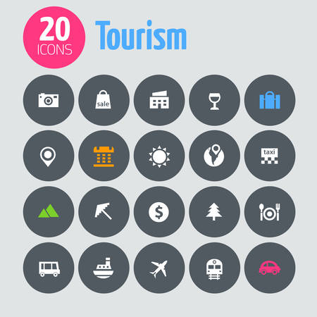 Flat minimalistic tourism icons on dark gray circles