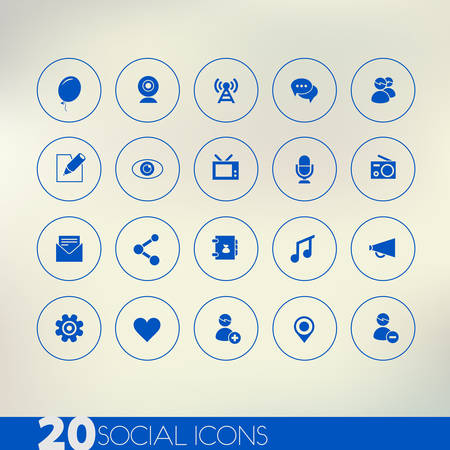 Thin simple social blue icons on light background