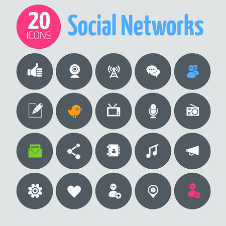Flat minimalistic social network icons on dark gray circles