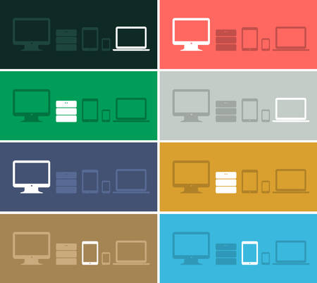 Flat design ui device icons collections on colored backgrounds Illustration