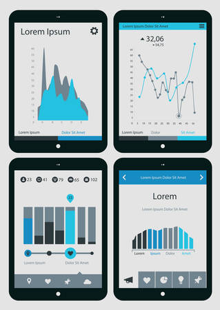 Abstract infographics templates collection on tablet PC