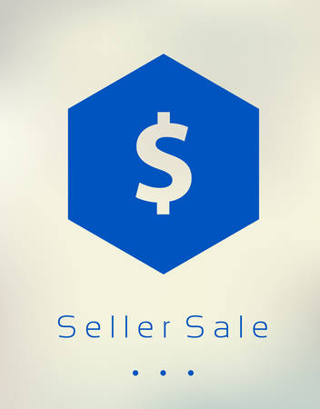 Sale discount dollar sign button on blurred background Illustration