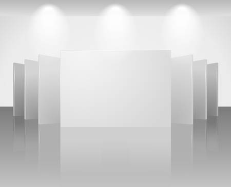 three dimensional blank template of exhibition gallery stand walls